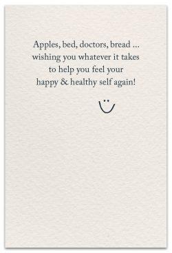 an apple a day feel better card inside message