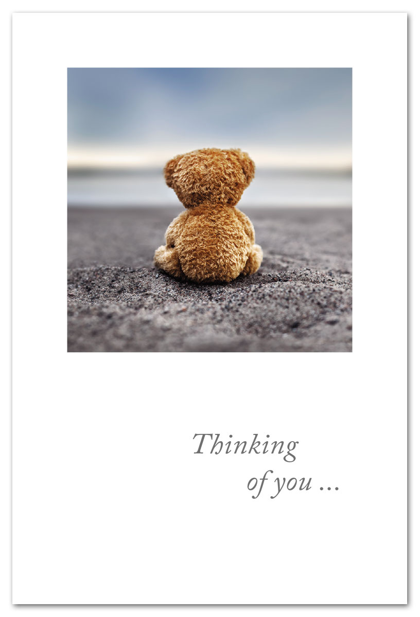 beached teddy bear thinking of you card