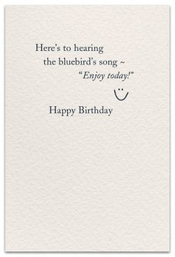 Bluebird of happiness birthday card inside message