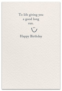 running birthday card inside message