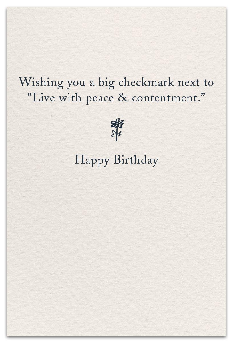 Bucket Lists Birthday Card Inside Message