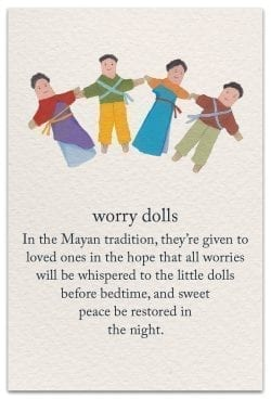 worry dolls support encouragement card front