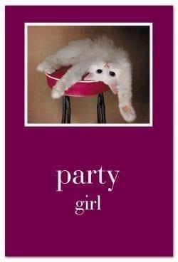 Cat on bar stool birthday card front