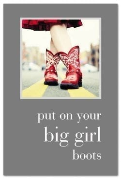 red cowgirl boots friendship card front